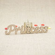 MDF wooden princess word shape laser cut from Premium 3mm MDF (Medium Density Fibreboard). Sizes from 3cm to 6cm tall in 3mm thickness.