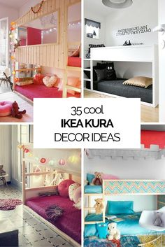 Some nice ideas to decorate a kids' room with IKEA KURA beds. They are cheap and awesome! Some nice ideas to decorate a kids' room with IKEA KURA beds. They are cheap and awesome! Ikea Bedroom, Bedroom Decor, Bedroom Ideas, Bed Ideas, Budget Bedroom, Bedroom Loft, Bedroom Wall, Bedroom Furniture, Surf Bedroom