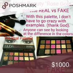 Huda Beauty Rose Gold palette REAL vs FAKE! The easiest way to tell real vs fake! The color difference alone is ridiculous! Google Huda Beauty Rose Gold palette to learn more and decide for yourself! Fake makeup is illegal and is hazardous to your health! They have ingredients in them that are banned, and for good reason!! Fake/dupe/counterfeit makeup usually includes lead, mercury, ammonia, and other harmful chemicals that can hurt your skin, and potentially be life threatening! Please…