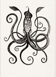Giant Squid (edition/250), 9 x 12 (printed on handmade Japanese kozo paper) by Graham Blair