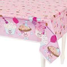 1st Birthday Cupcake Table Cover - OrientalTrading.com