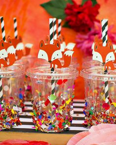 Playful & Glamorous Stay Wild FOXY Flower Party...love the fox on straw, Dora on straw would be cute