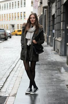 Parka by Mango, skirt and bag by Zara, sneakers by Converse. (polienne.com, December 8, 2012)