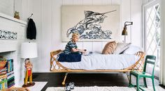 A dilapidated cottage in a San Diego beach town is returned to its former campy charm, with a lot of modern black-and-white motifs thrown in. Surf Bedroom, Surf House, Beach House, San Diego, Rattan Daybed, Surf Shack, Beach Bungalows, Beach Cottages, Kids House