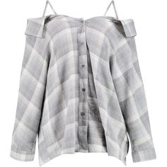 Emily Check Open Shoulder Shirt ($35) ❤ liked on Polyvore featuring tops, checked shirt, checkered top, cold shoulder shirts tops, cut out shoulder tops and checkered shirt