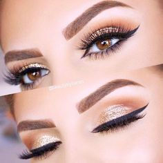 eyeliner – Great Make Up Ideas Eye Makeup Glitter, Glitter Eyebrows, Metallic Makeup, Gold Makeup, Eye Makeup Tips, Eyeshadow Makeup, Makeup Ideas, Eyeshadow Palette, Gold Eyeshadow Looks