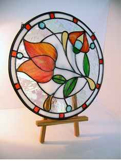 RONDE Stained glass SUNCATCHER - beau vitrail light catcher - orange fleur sur Etsy, $125.61 CAD
