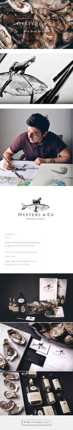 Oyster´s & Co. on Behance by Daniel Babara curated by Packaging Diva PD. Corporate identity project for an oyster´bar, covering art direction, photography, brand design, packaging & web. Brand Identity Design, Graphic Design Branding, Corporate Design, Corporate Identity, Visual Identity, Design Packaging, Brand Design, Coffee Packaging, Bottle Packaging