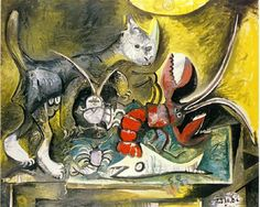 Still life with cat and lobster, 1962, Pablo Picasso
