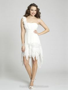 A-line One Shoulder Chiffon Asymmetrical White Flowers Homecoming Dresses