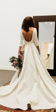 18 Modest Wedding Dresses Of Your Dream ❤️ modest wedding dresses low back with sleeves simple chante llauren designs ❤️ Full gallery: https://weddingdressesguide.com/modest-wedding-dresses/ #weddingdress