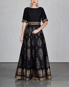 Black Printed Lehenga Set