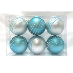 Aqua and White Ball Ornament with Dot Design-Create a warm and festive tone in any area. These traditional 4 aqua ball ornaments are a classic for any home or business. 6 pack contains ball ornaments, each with glitter enhancements and a matte f Aqua Christmas, Christmas Ornament Sets, Christmas Balls, Christmas Decorations, Beach Christmas Trees, Holiday Decorating, Family Christmas, Christmas Ideas, Christmas Crafts