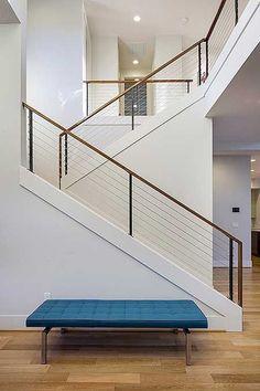 33 Ultimate Farmhouse Staircase Decor Ideas And Design Modern Staircase Decor design FARMHOUSE ideas Staircase Ultimate Modern Stair Railing, Stair Railing Design, Home Stairs Design, Modern Stairs, Interior Stairs, Indoor Railing, Cable Stair Railing, Railing Ideas, Farmhouse Stairs