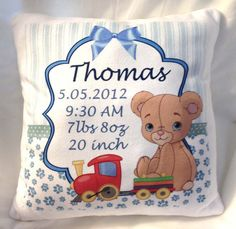 Cute Beautiful Personalized Baby Birth Announcement Pillow