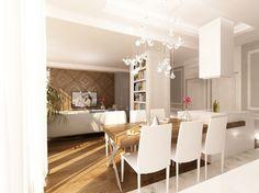 Projekt wnętrz eleganckiego apartamentu na Mokotowie. Salon połączony z kuchnią w nowoczesnej zabudowie Dominuje tu biel, szarość i drewno. http://www.tissu.com.pl/zdjecia/55