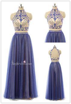 prom dress, 2016 prom dress, two-pieces prom dress, high-neck prom dress