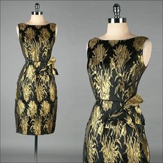 I am so combining this with my gold brogues! heels be damned :P  vintage 1950s dress . gold black brocade . wiggle bombshell . 3260