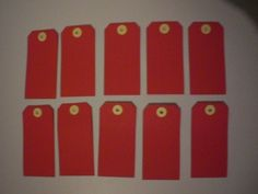 Sample Pack of 10 Red Heavy Paper Tags 2 1/4 X 4 3/4 inches Scrapbooking #Unknown