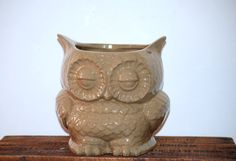ceramic nutral owl  planter  large rustic vintage by claylicious, $55.00