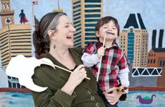 Nathaniel wearing his John Waters mustache at the Baltimore Treasure Map Playdate at Quarry Lake!