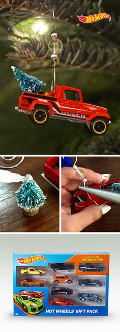 Kick your holidays into high gear with these DIY ornaments. 1. Pick up some ornament hangers and cars. 2. Apply glue. 3. Hang.