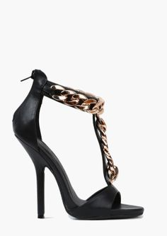 Sexy, black, open-toed, chain link front heels. WOW!!!