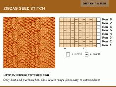 Only Knit and Purl. Reversible stitch. Zig Zag Seed stitch pattern.