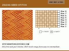 Only Knit and Purl. Reversible stitch. Zig Zag Seed stitch pattern.