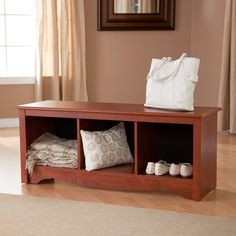 Have to have it. Prepac Monterey Cubbie Bench $109.98  In white beside fireplace.