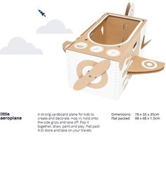 flatout frankie - strong cardboard plane kit for your kids to decorate and play with