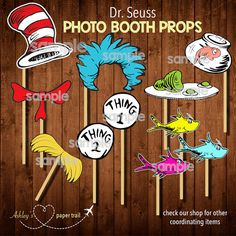 These Dr. Seuss photo booth props are perfect for your baby shower or gender reveal party! Simply add a stick and you are ready to take some Baby Shower Photo Booth, Baby Shower Photos, Baby Shower Themes, Dr Seuss Baby Shower Ideas, Dr Seuss Party Ideas, Dr Seuss Birthday Party, 1st Birthday Parties, Birthday Ideas, Ideas Party