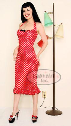 Pin-up Clothing - Lolita Girl Clothing Pin-up Princess Red Halter Wiggle Dress w/ White Polka Dots! $98.00