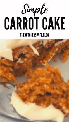 Yummy Carrot Cake is easy to make! It is simple but delicious! A moist carrot cake with a sweet and creamy cream cheese frosting! Easy Carrot Cake, Carrot Cake Bars, Moist Carrot Cakes, Banana Bread Recipes, Easy Cake Recipes, Frosting Recipes, Dessert Recipes, Baking Desserts, Zucchini Cake