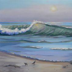 Ocean Beach Waves Oil Painting Couple Walking New Original ...