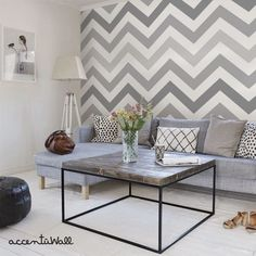 Chevron Cool Grey Peel Stick Fabric Wallpaper Repositionable - Simple Shapes Wall Decals, Furniture, and Accessories Pinturas Chevron, Living Room Grey, Living Room Decor, Living Rooms, Bedroom Wall, Bedroom Decor, Cleaning Walls, Traditional Wallpaper, Fabric Wallpaper