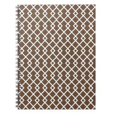 Coffee Brown Diamond Weave Pattern Notebook - patterns pattern special unique design gift idea diy