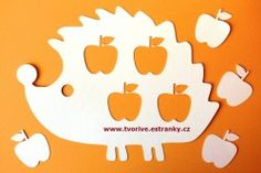 Stránky pro tvořivé - malé i velké - Eshop - Papíry a papírové výřezy - Ježek s jablíčky - výřezy 1+4 ks