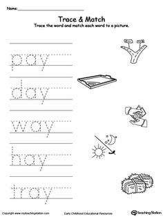 AY Word Family Trace and Match: Practice writing short words and identify their sound by matching the word with the picture. This activity will improve your child writing skills and increase their vocabulary words. English Worksheets For Kindergarten, Cvc Worksheets, Alphabet Tracing Worksheets, Printable Alphabet Letters, Teachers Aide, Teacher Tools, Writing Practice, Writing Skills, Family Worksheet