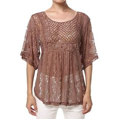 Womens Sexy Sheer Hollow Out Lace Batwing Sleeve Blouse Coffee (365 MXN) ❤ liked on Polyvore featuring tops, blouses, coffee, lace shirt, sexy sheer blouse, sheer lace shirt, sexy blouses and lace blouse