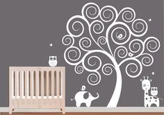 wall decal : white swirl tree with owls & butterflies decal wall vinyl stickers