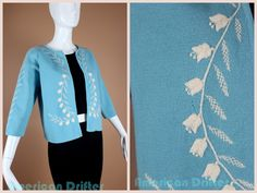 Vintage 50s Sky Blue Knit Cardigan w White Embroidered Tulips Crop Sleeve Rockabilly Pinup Romantic Small Medium by AmericanDrifter on Etsy