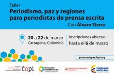 Periodistas colombianos: aprovechen esta oportunidad para participar en un taller gratuito sobre la cobertura del proceso de paz en Colombia. Toda la información aquí:  http://www.fnpi.org/actividades/2015/periodismo-paz-y-regiones-para-periodistas-de-prensa-escrita