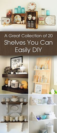 A Great Collection of 20 Shelves You Can Easily DIY - A great collection of 20 DIY shelving ideas that are inexpensive, easy, and will add beauty to your - Trendy Home Decor, Diy Home Decor Easy, Inexpensive Home Decor, Stair Shelves, Diy Shelving, Leaning Shelves, Bookshelves, Furniture Makeover, Diy Furniture