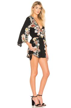 8a101aa0180e Band of Gypsies Vintage Floral Surplice Romper in Black Rust