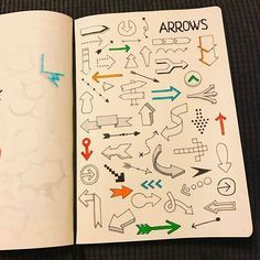 So many different ways of making arrows! Visual Note Taking, Vintage Cartoons, Cartoon Profile Pics, Thought Bubbles, Sketch Notes, Bullet Journal Inspiration, Hand Lettering, Arrow, How To Draw Hands