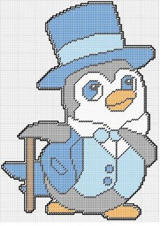 PENGUIN IN TOP HAT & SUIT by KATHY -- WALL HANGING