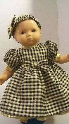 Holiday Dress and Headband for Bitty Baby Doll by fashioned4you