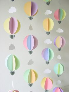 Party Pack of Hot Air Balloon Garlands – Travel theme Nursery Mobile – Baby Shower Decorations – Travel Theme Baby Shower – Up up and away Party Pack of 6 Hot Air Balloon Garlands – Baby Mobile – Baby Shower Decorations… Baby Shower Backdrop, Baby Shower Themes, Baby Shower Decorations, Shower Ideas, Balloon Garland, Balloon Decorations, Diy Garland, Travel Theme Nursery, Nursery Decor