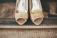 sparkly gold peep toe bridal shoes